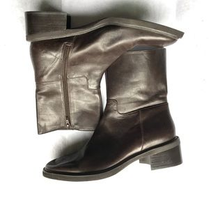 Liz clairborne brown leather booties boots size 8